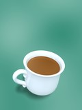 porcelain cup of coffee on green background poster