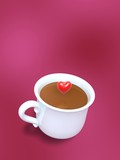 porcelain cup of coffee and love heart on rose background poster
