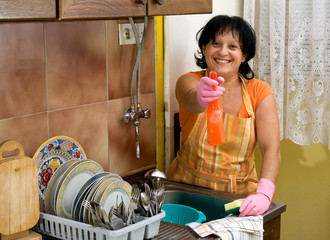 woman washing dishes in the kitchen