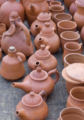 Hand made clay jugs