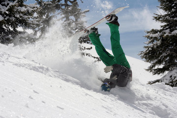 Snowboarder Crashing