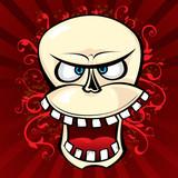 Smiling comic skull poster
