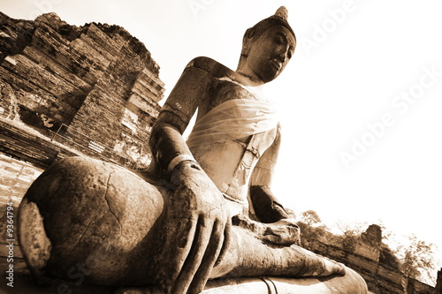 Monuments of buddah, ruins in Ayutthaya, old capital THAILAND - 9364794