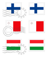 Finland, Malta and Hungary - flags on a stamp