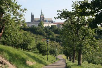 path in Petrin park and Prague castle Czech Republic