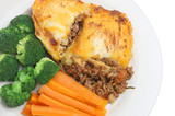 Shepherds pie with carrots and broccoli poster