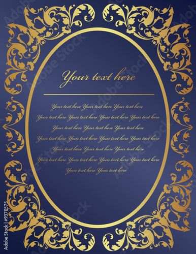 vintage style gold frame with blue background, vector