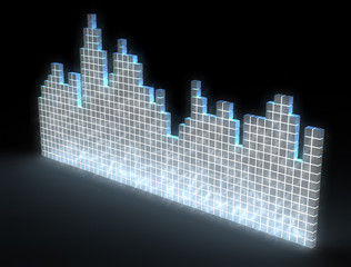abstract sound equalizer with glowing blue cubes