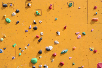 Close up of a bouldering wall for climbing