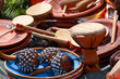 Leinwanddruck Bild - Drums, maraca and other percussion. Group of object