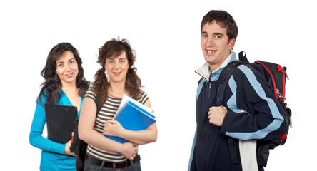 Students with over a white background. Focus at front