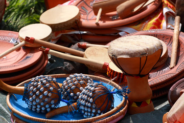 Drums, maraca and other percussion. Group of object