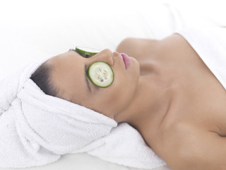 Portrait of beautiful woman during spa treatment
