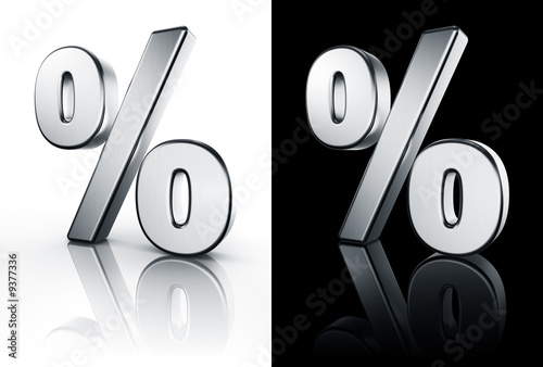 3d rendering of the percentage sign in brushed metal