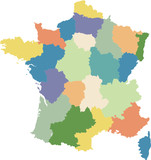 Map of France divided into regions poster