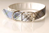 blue green and black plaid dog collar poster