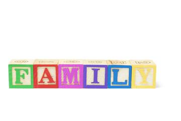 Alphabet Blocks - Family Isolated on White Background