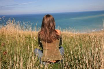 femme méditation horizon