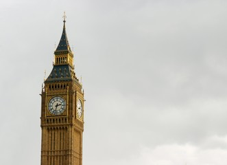 Big Ben in overcast English weather