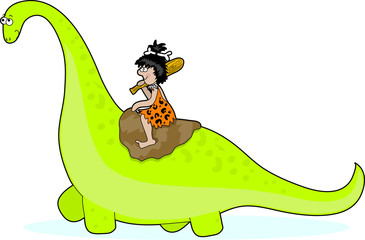 A caveman riding on the back of a green brontosaurus