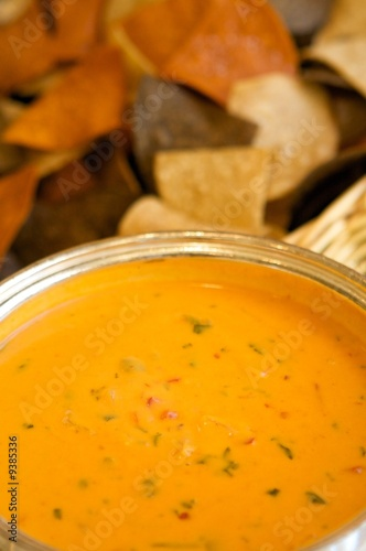 An image of colorful tortilla chips with queso