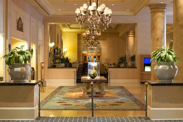 An image of an upscale hotel lobby