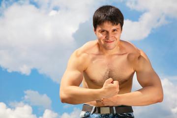 bodybuilder on sky