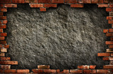Concrete wall in brick frame isolated with clipping path