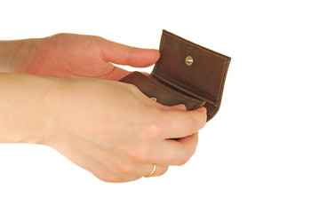 a womanish hand holds a pocket-book or purse
