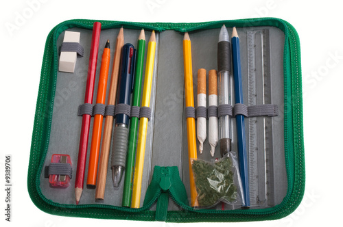 Two cigarettes with marijuana in the pencil-case