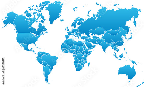 Fototapete Karte - Welt - Erdkugel - Globus - Poster - Aufkleber