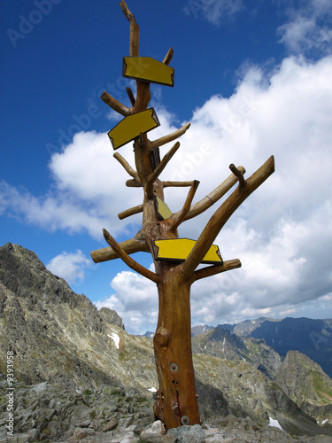 Signpost on the top of mountain