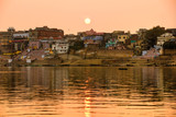 Varanasi at sunset, uttar Pradesh, from the gange river, India. poster