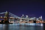 Brooklyn Bridge and Manhattan skyline At Night, New York City - 9394317