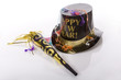 Top hat that says happy new year and other party favors