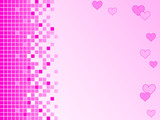 Pink background with pixels and hearts poster