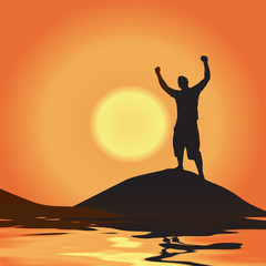 A silhouette of a man atop a mountain with his arms raised up