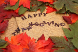 happy thanksgiving surrounded by orange and green autumn poster