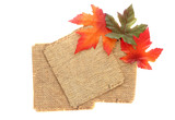 fall background with rustic leaves and twine paper poster