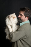 Man with Persian cat poster
