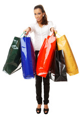Attractive woman with paper shopping bags