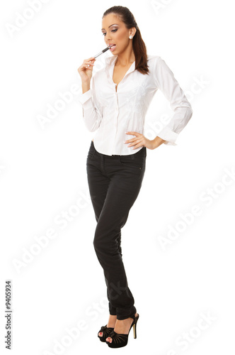 Portrait of beautiful business woman isolated on white