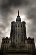 Palace of Culture and Science. Warsaw, Poland. Stormy clouds