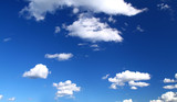 panoramic view of summer sky with cumulus clouds, poster