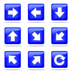 Set of arrow blue buttons, 9 directions and reload icon
