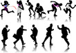 People silhouettes. Running