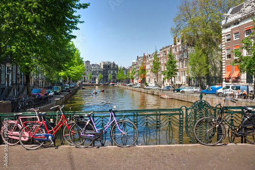 Amsterdam, Canal and bike. Holland.
