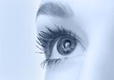 beautiful eye closeup, monochrome blue version poster
