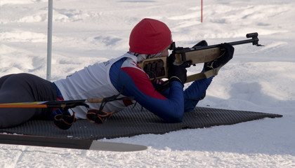The women biatlon event on North Holiday in Murmansk
