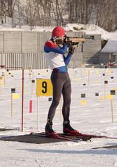 Man`s biatlon contest in Murmansk
